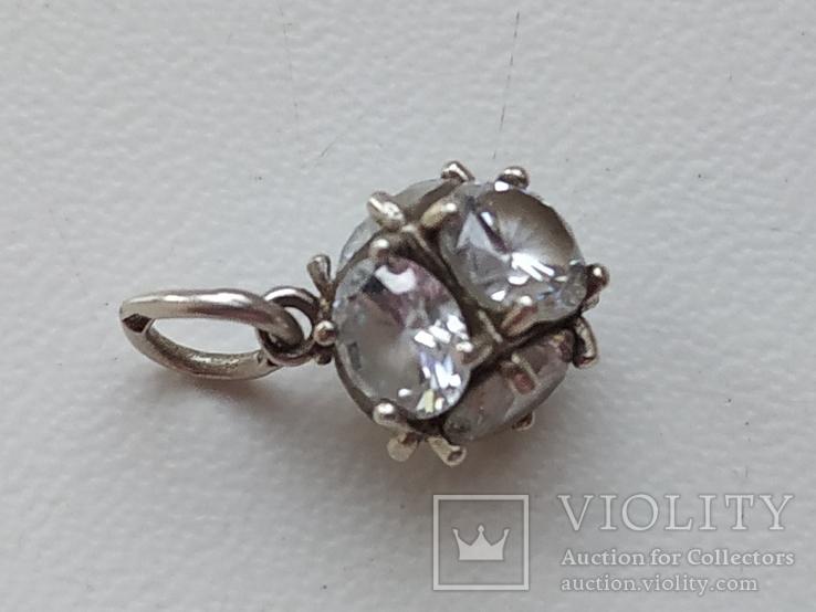 Кулон с камнями серебро 925 проба, фото №7
