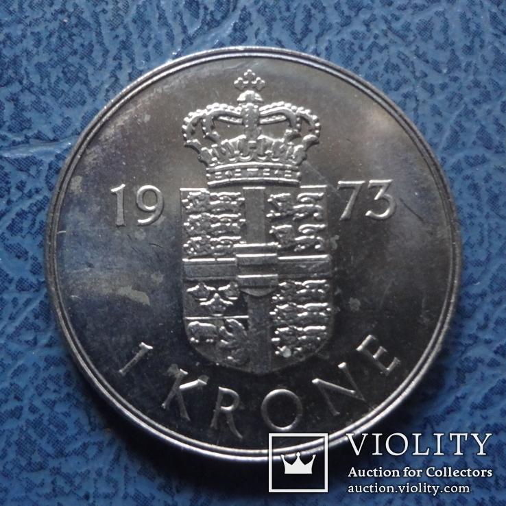 1  крона  1973  Дания     (9.1.1)~, фото №3