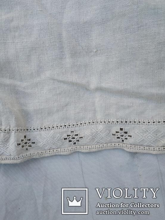 Сорочка білим по білому з вирізуванням,вишиванка конопляна полотняна Миргородська., фото №3