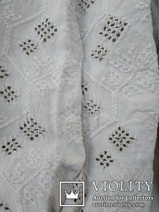 Сорочка білим по білому з вирізуванням,вишиванка конопляна полотняна Миргородська., фото №6