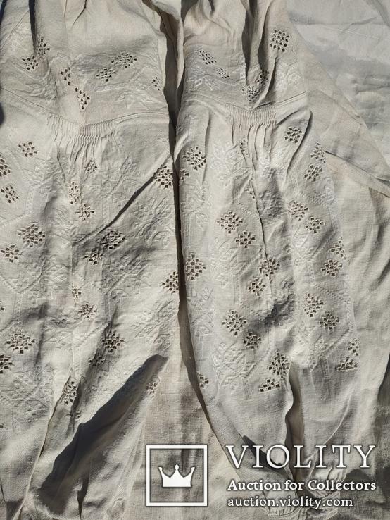 Сорочка білим по білому з вирізуванням,вишиванка конопляна полотняна Миргородська., фото №7