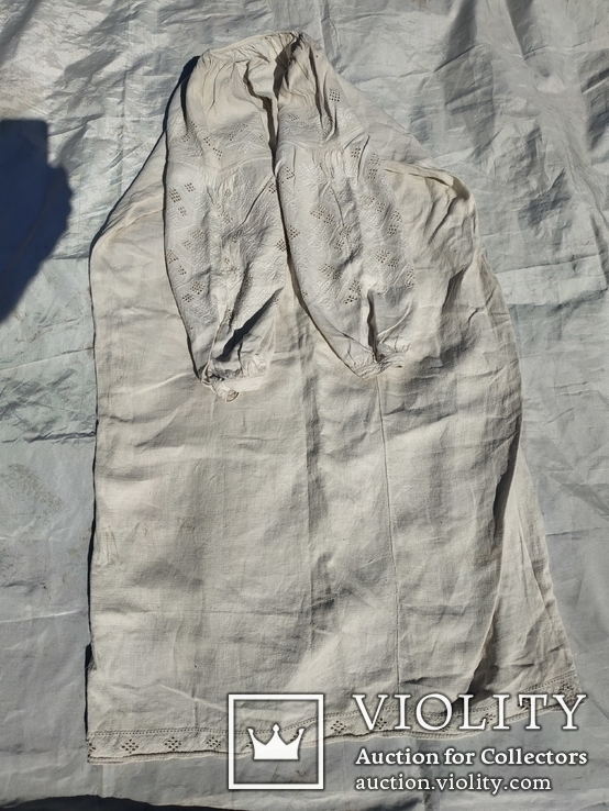 Сорочка білим по білому з вирізуванням,вишиванка конопляна полотняна Миргородська., фото №10