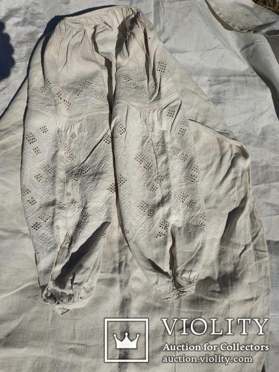 Сорочка білим по білому з вирізуванням,вишиванка конопляна полотняна Миргородська., фото №11