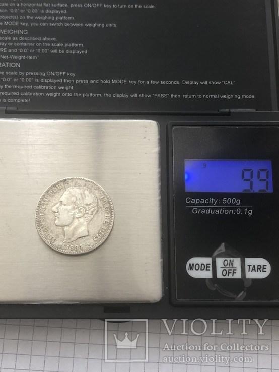 Испания 2 песеты 1884р серебро 835проба(44), фото №5