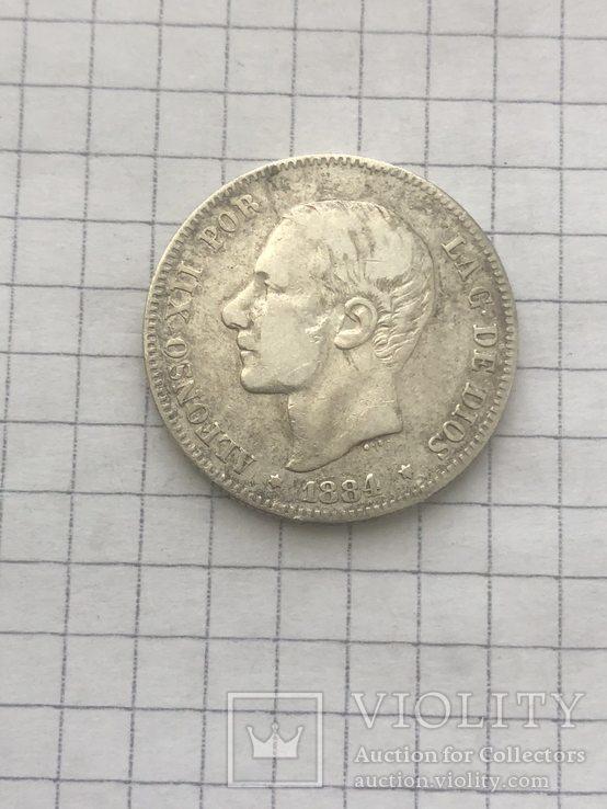 Испания 2 песеты 1884р серебро 835проба(44), фото №2
