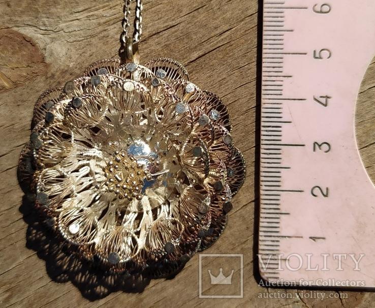 Крупный кулон, серебро, скань., фото №3