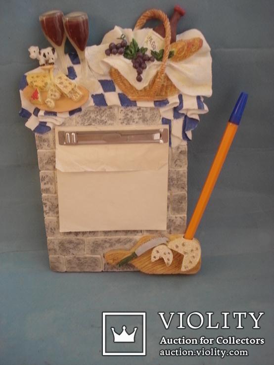 Плакетка кухонная настенная подарочная, записная книжка. Барельеф., фото №3