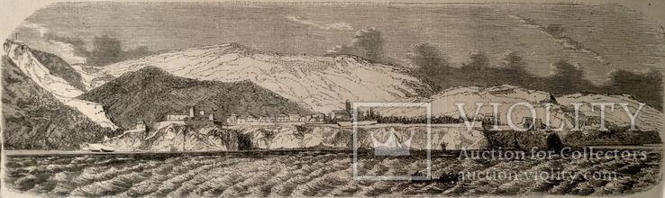 Монако, вид с моря. Архитектура, Гравюра (26х8,5)