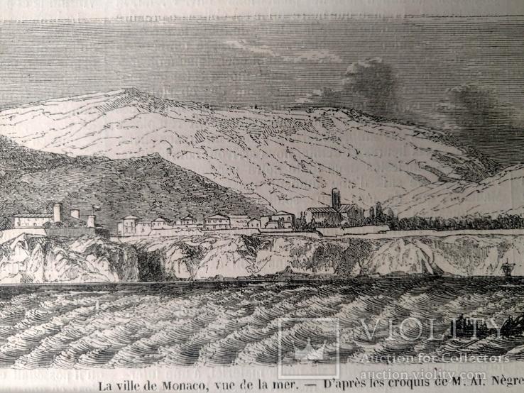 Монако, вид с моря. Архитектура, Гравюра (26х8,5), фото №5