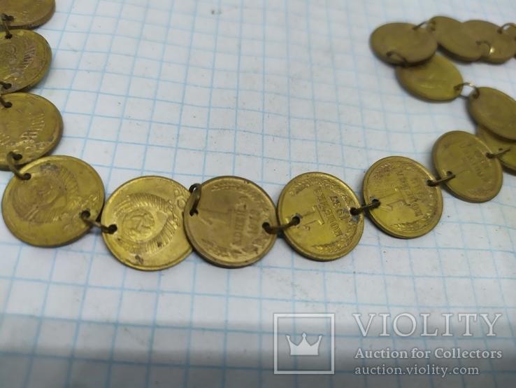 Медаль на юбилей 50 лет. Цепочка сделана из монет 1 коп СССР, фото №4