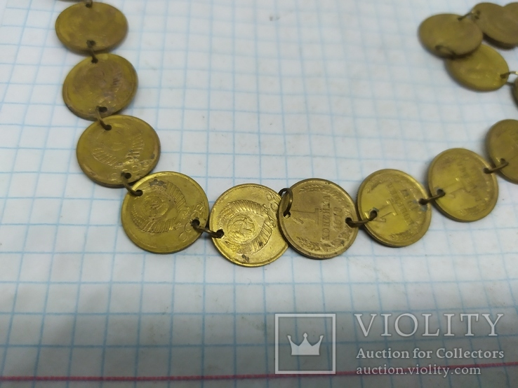 Медаль на юбилей 50 лет. Цепочка сделана из монет 1 коп СССР, фото №5