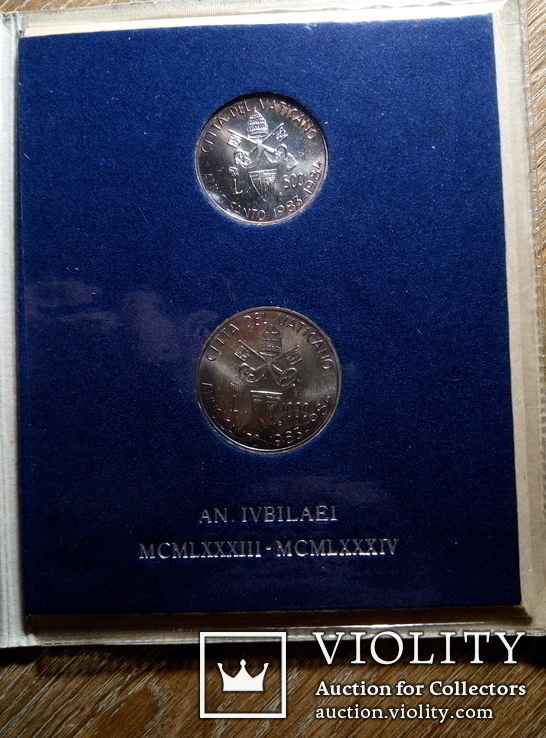 Ватикан 500 и 1000 лир (набор) 1983 - 1984 гг., фото №2