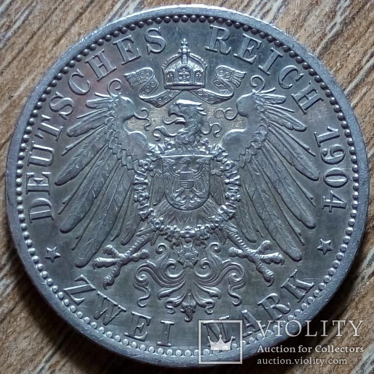 "Гессен 2 марки 1904 г. ""400 лет герцогству"", фото №3"