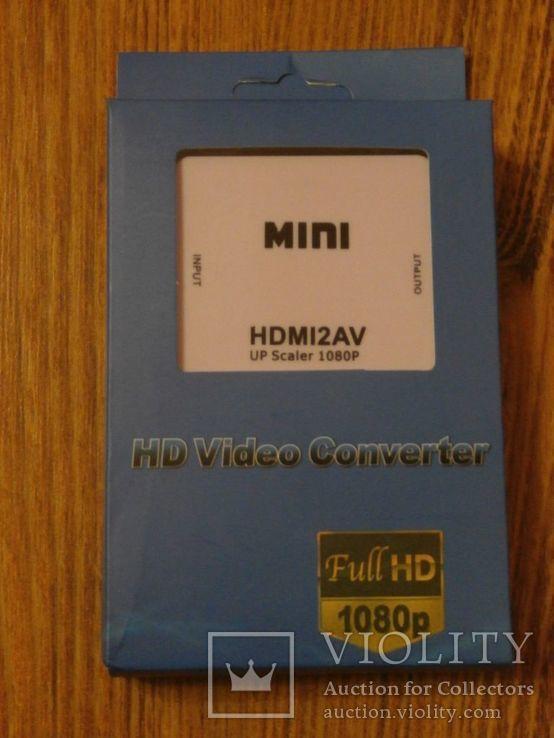 Конвертер Адаптор видеосигнала HDMI to AV (RCA) тюльпани, фото №2