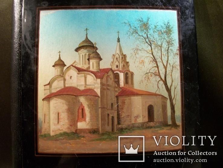 477 Блокнот Федоскино, церковь, ручная роспись, папье маше. Виды Москвы, фото №2