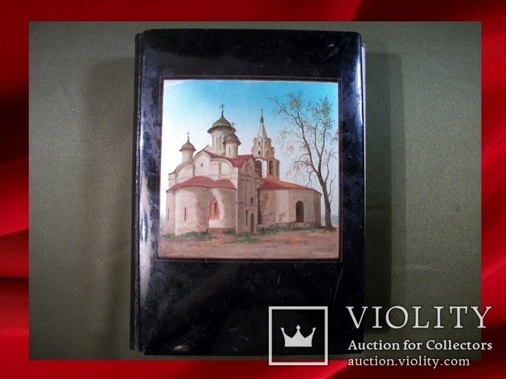 477 Блокнот Федоскино, церковь, ручная роспись, папье маше. Виды Москвы, фото №3