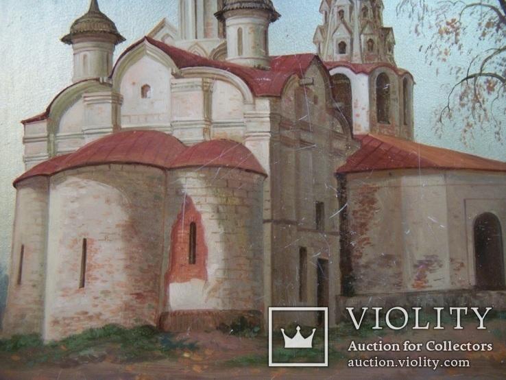477 Блокнот Федоскино, церковь, ручная роспись, папье маше. Виды Москвы, фото №4
