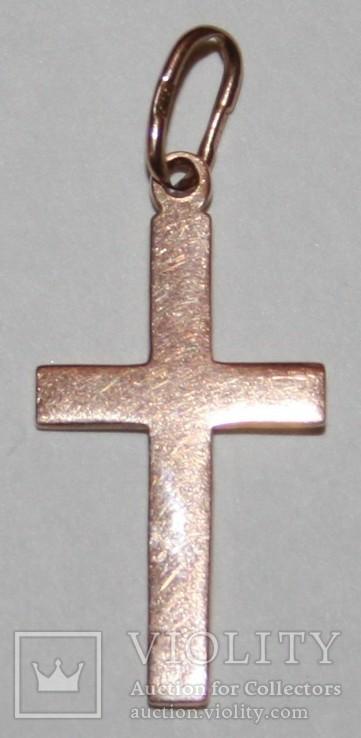 Золотая подвеска-католический крестик СССР (585 проба) 1,6 грамма, фото №4
