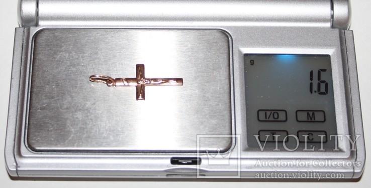 Золотая подвеска-католический крестик СССР (585 проба) 1,6 грамма, фото №7