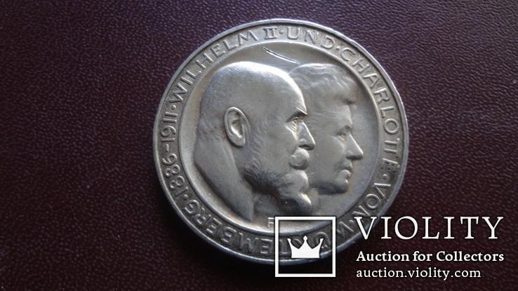 3  марки  1911 Германия 25 лет свадьбе Вюртемберг  серебро    (8.3.14)~, фото №2