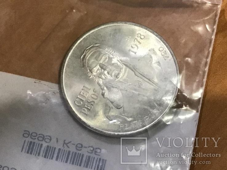 Мексика 100 песо 1978 серебро, фото №5