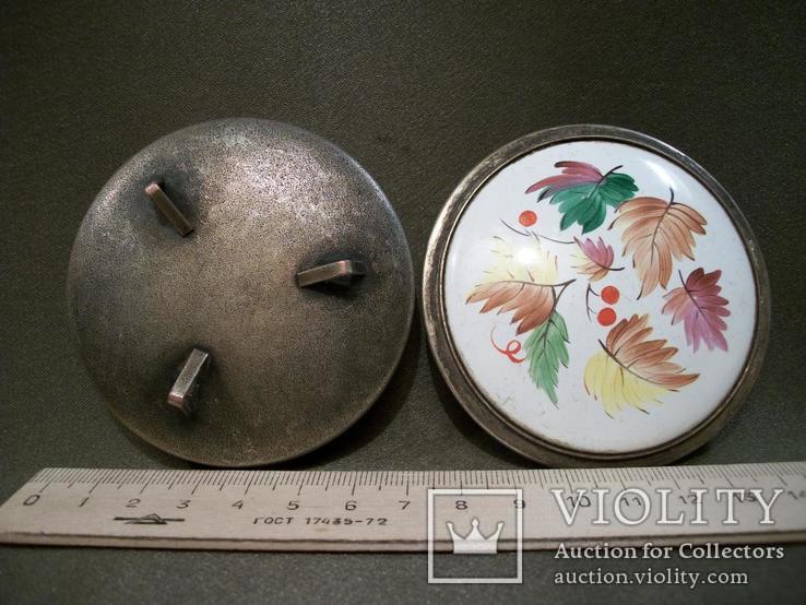 2275 Шкатулка, эмаль, мельхиор, диаметр 7,3, высота 3 см., фото №6