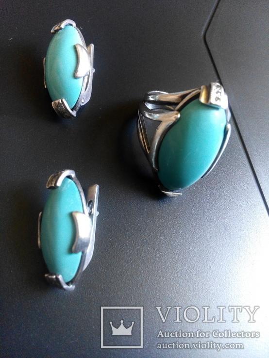 Бирюзовый гарнитур в белом серебре кольцо серьги, фото №9