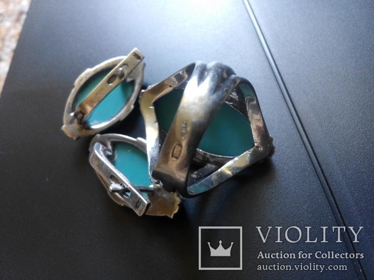 Бирюзовый гарнитур в белом серебре кольцо серьги, фото №11