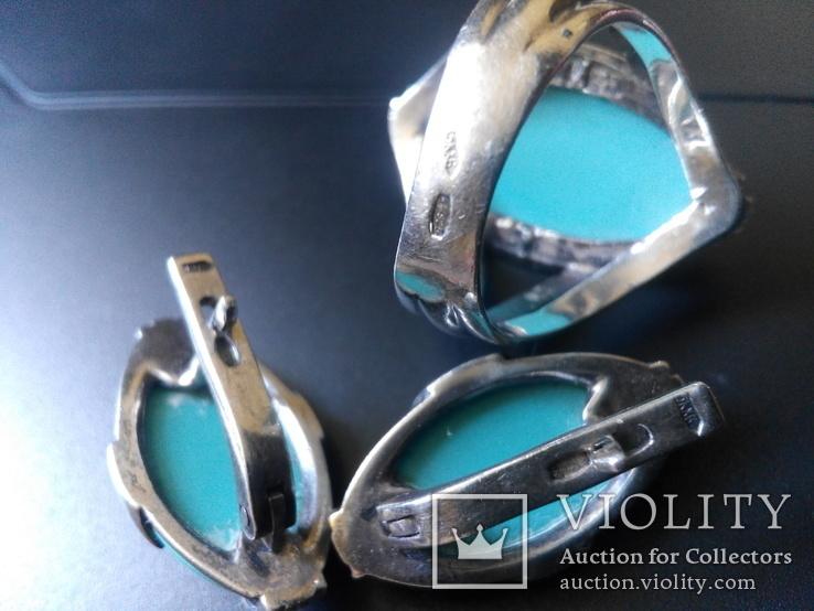 Бирюзовый гарнитур в белом серебре кольцо серьги, фото №5