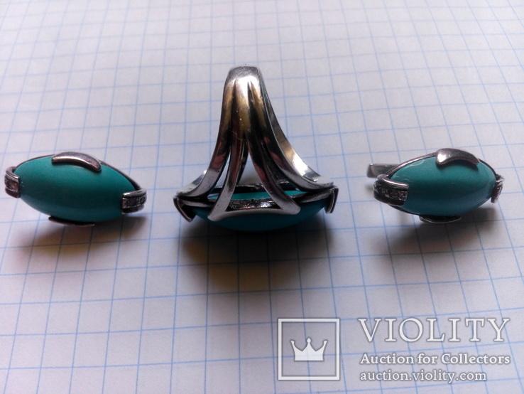 Бирюзовый гарнитур в белом серебре кольцо серьги, фото №2