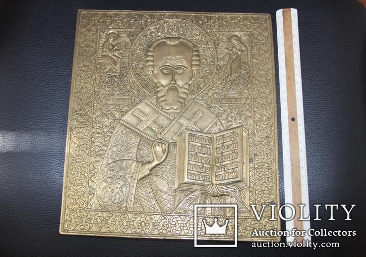 Большая медно-литая икона Святой Николай, фото №2