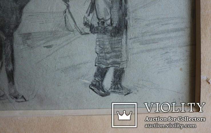 """Антін Монастирський (18781969), """"Гуцулка з конем"""". Львівська школа, фото №3"""