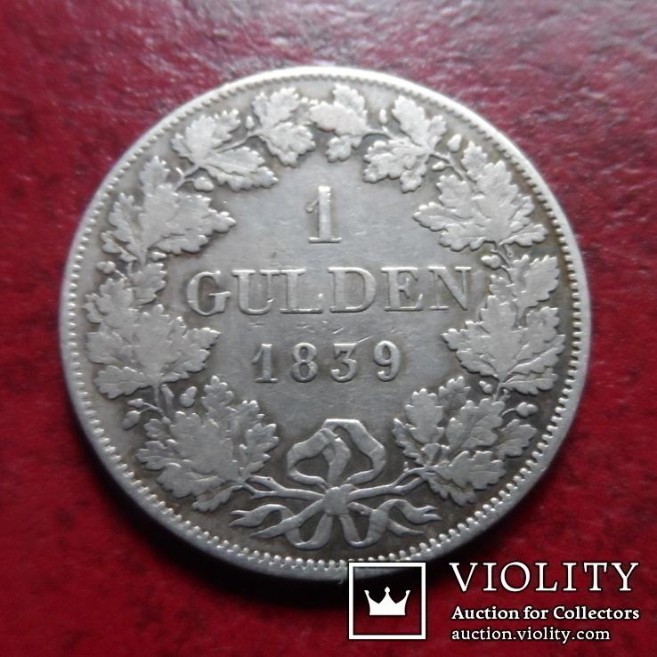 1 гульден  1839 Вюрттемберг  серебро    (А.1.24)~, фото №2