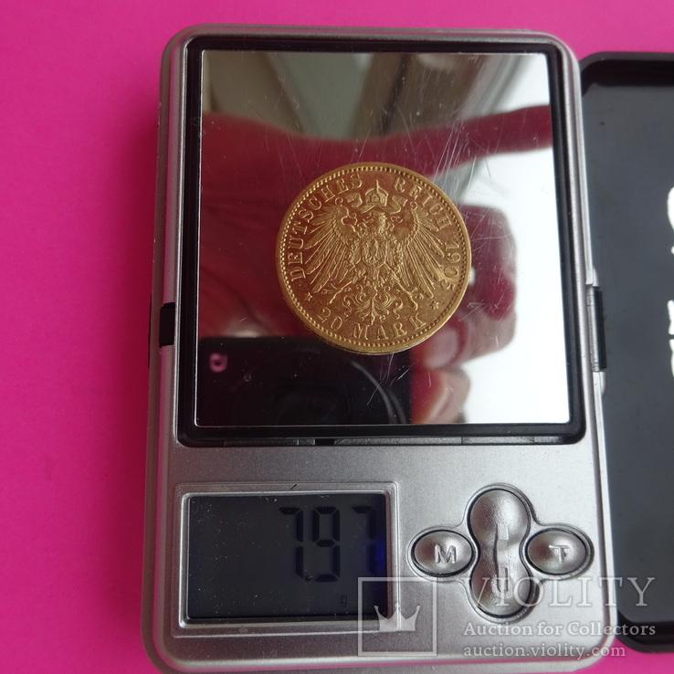 20 марок. Пруссия, 1905 год, золото, 7,97 грамм., фото №2