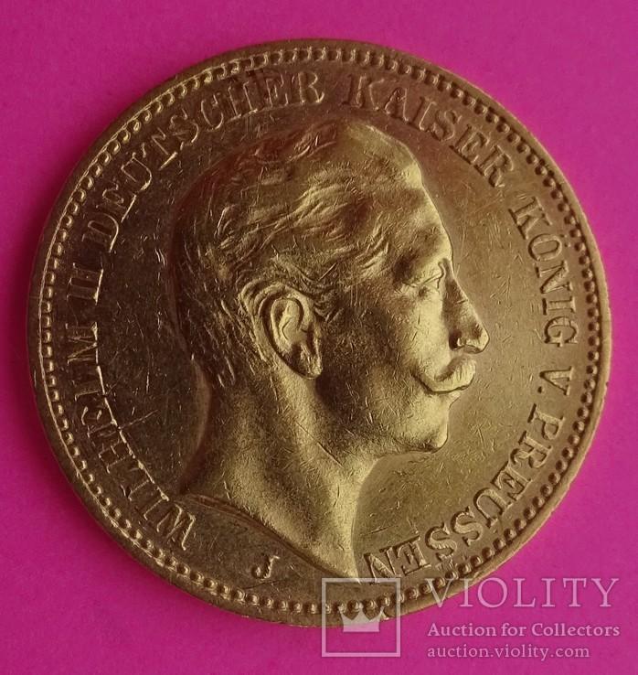 20 марок. Пруссия, 1905 год, золото, 7,97 грамм., фото №3