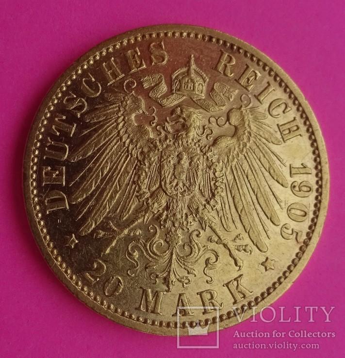 20 марок. Пруссия, 1905 год, золото, 7,97 грамм., фото №5