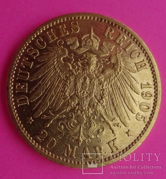 20 марок. Пруссия, 1905 год, золото, 7,97 грамм., фото №6