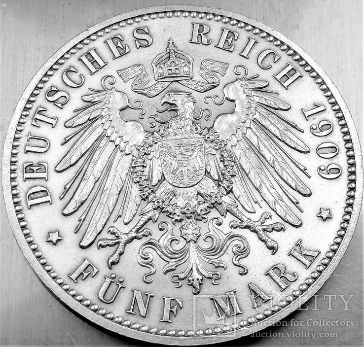 5 марок 1909 року, Саксонія, 500 років університету Лейпцига, срібло, фото №5