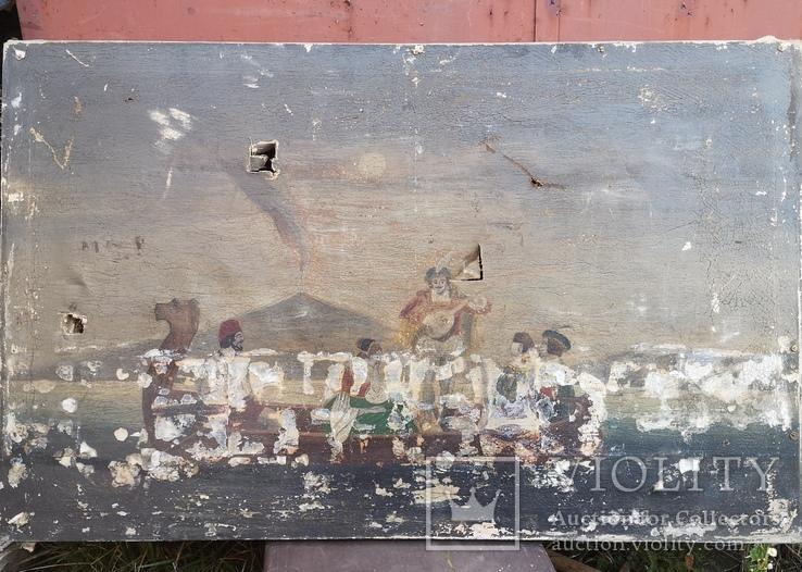 Стара картина підрамник на кілках 75х120см, фото №2