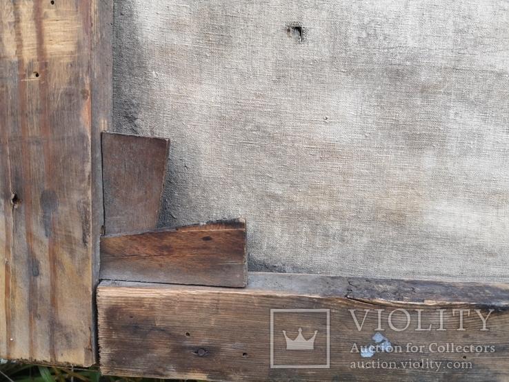Стара картина підрамник на кілках 75х120см, фото №6