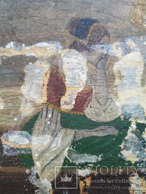 Стара картина підрамник на кілках 75х120см, фото №8