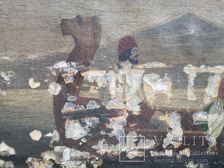 Стара картина підрамник на кілках 75х120см, фото №10