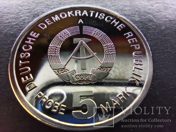 Германия-ГДР 5 марок 1985 пробная монета,PROOF,Редкость,Н20. Копия., фото №6