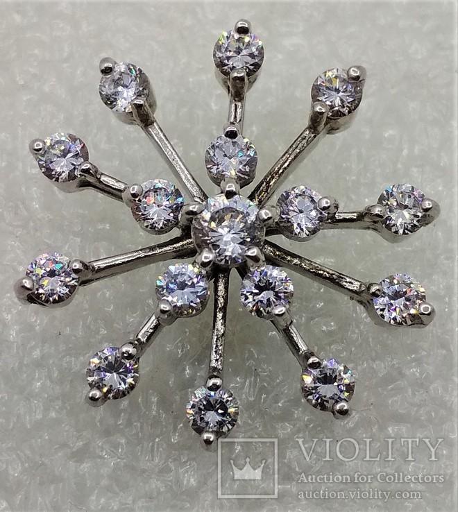 Кулон подвеска Снежинка Серебро 925, фото №2