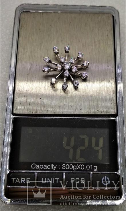 Кулон подвеска Снежинка Серебро 925, фото №7