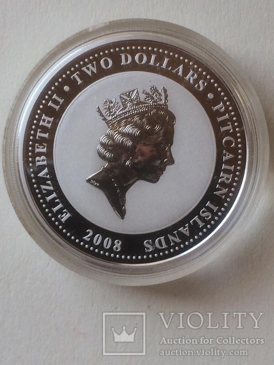 2 доллара, серебро, острова Питкерн, 2008 год, фото №3