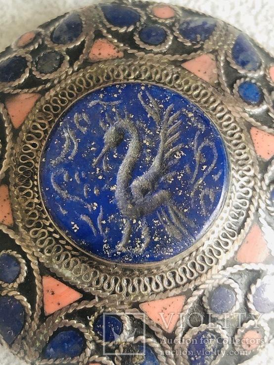 Массивный старинный серебряный кулон с лазуритом (серебро 800 пр, вес 72 гр), фото №4