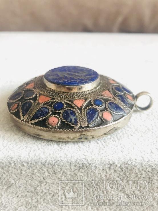 Массивный старинный серебряный кулон с лазуритом (серебро 800 пр, вес 72 гр), фото №9