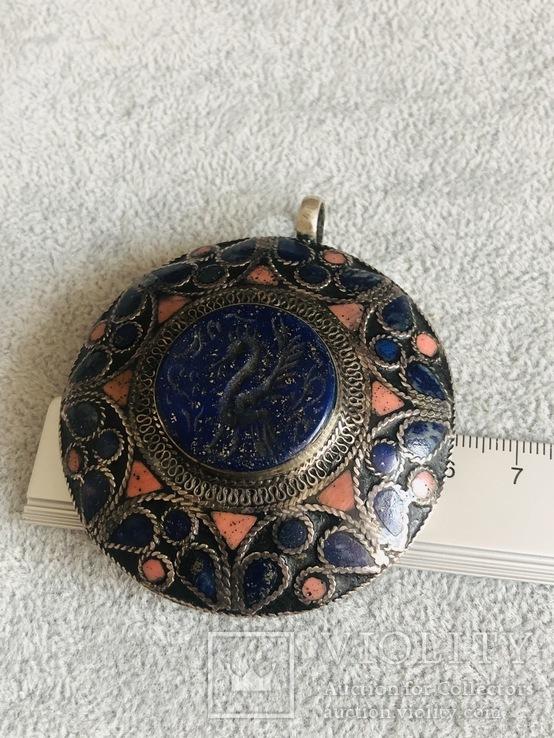 Массивный старинный серебряный кулон с лазуритом (серебро 800 пр, вес 72 гр), фото №10