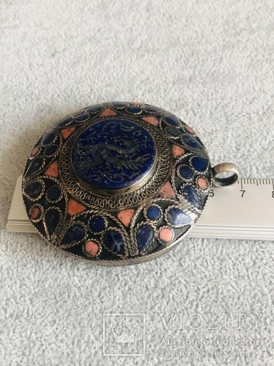 Массивный старинный серебряный кулон с лазуритом (серебро 800 пр, вес 72 гр), фото №11